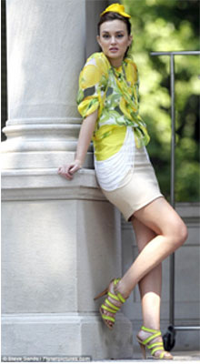 Leighton Meester in Yellow Stilettoss